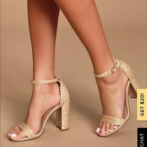 Steve Madden Natural Raffia Ankle Strap Heels. New